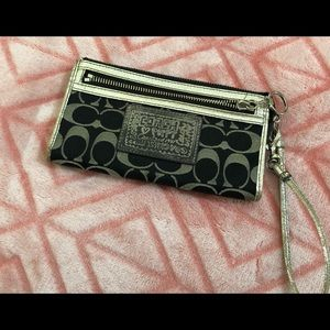 Coach Poppy wristlet walker silver and black